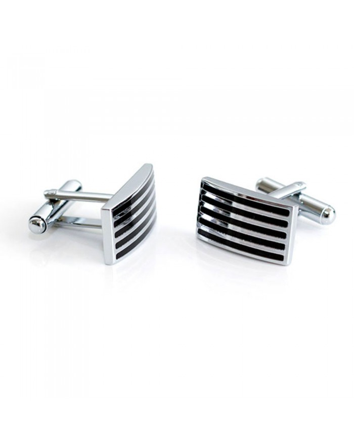 Silver & Black Enamel Striped Cufflinks