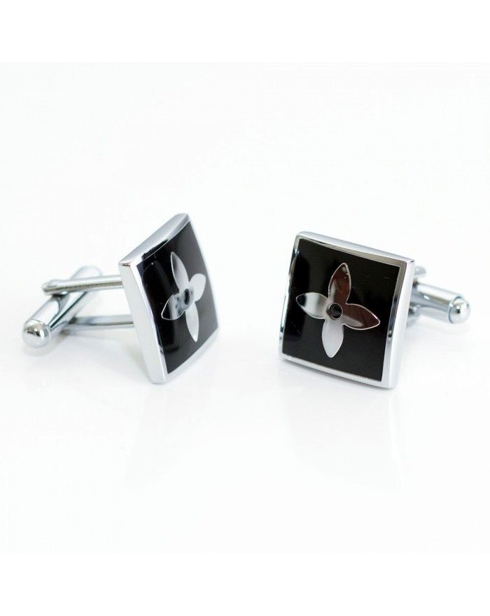 Black Square with Platinum Flower Cufflinks