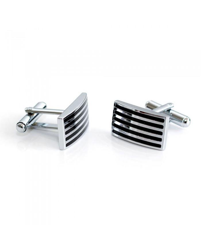 Silver & Black Enamel Striped Cufflinks