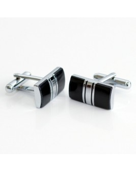 Black Enamel With Platinum Stripe Cufflinks