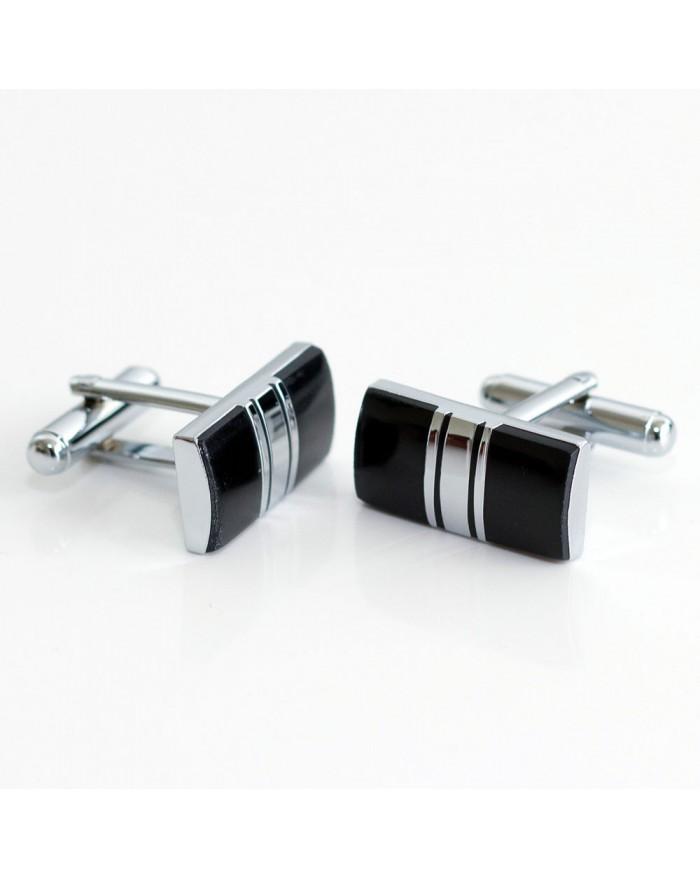 Black Enamel With Platinum Stripe Cufflinks