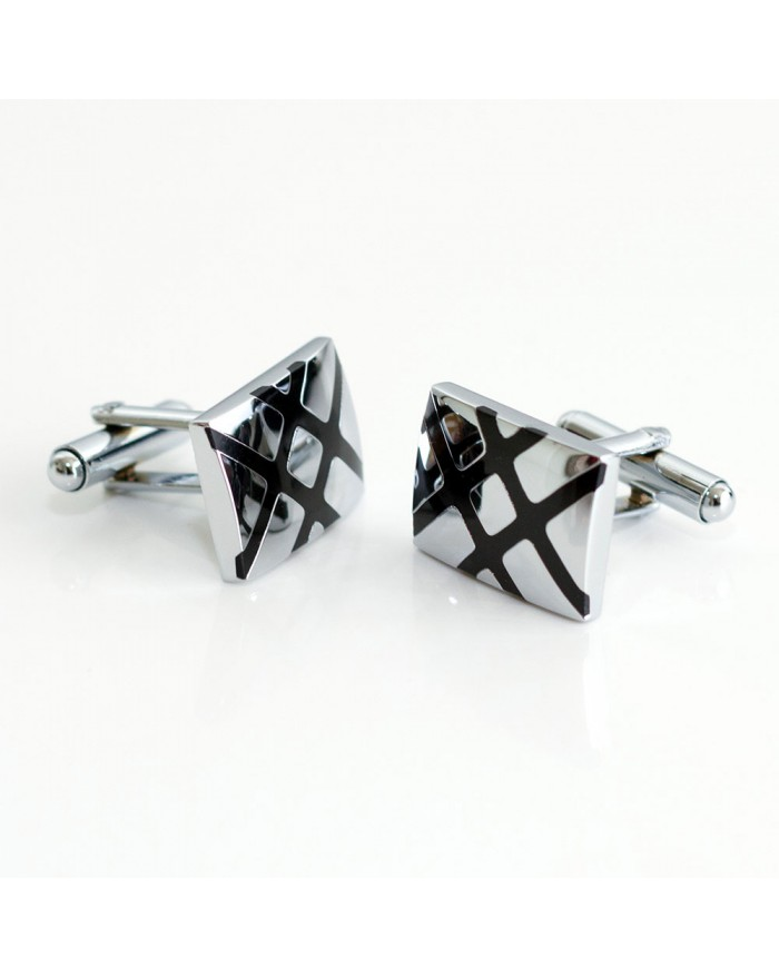 Black Cross Stripe Cufflinks