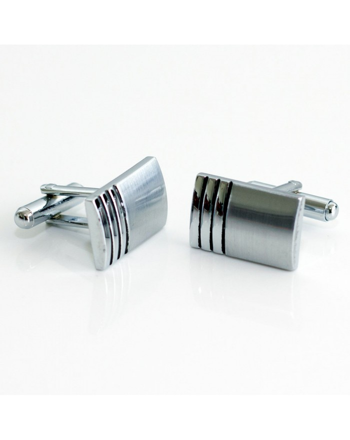 Brushed Finish With Corner Stripes Cufflinks