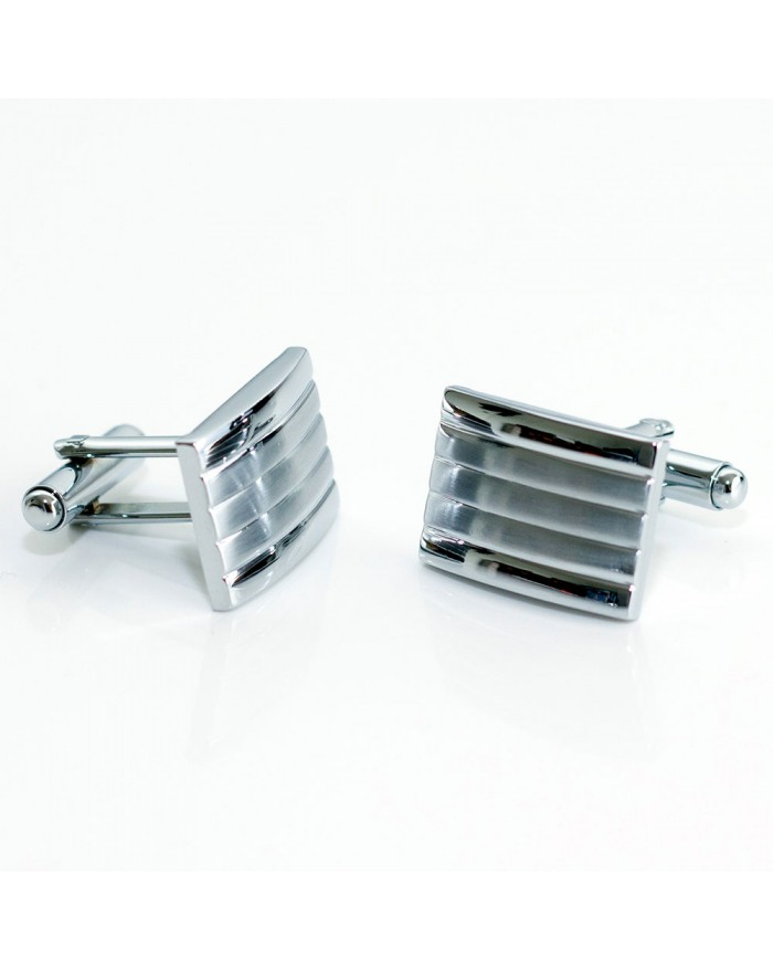 Platinum Striped Cufflinks